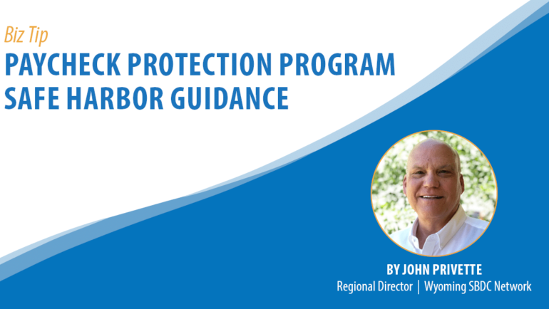 Paycheck Protection Program Safe Harbor Guidance