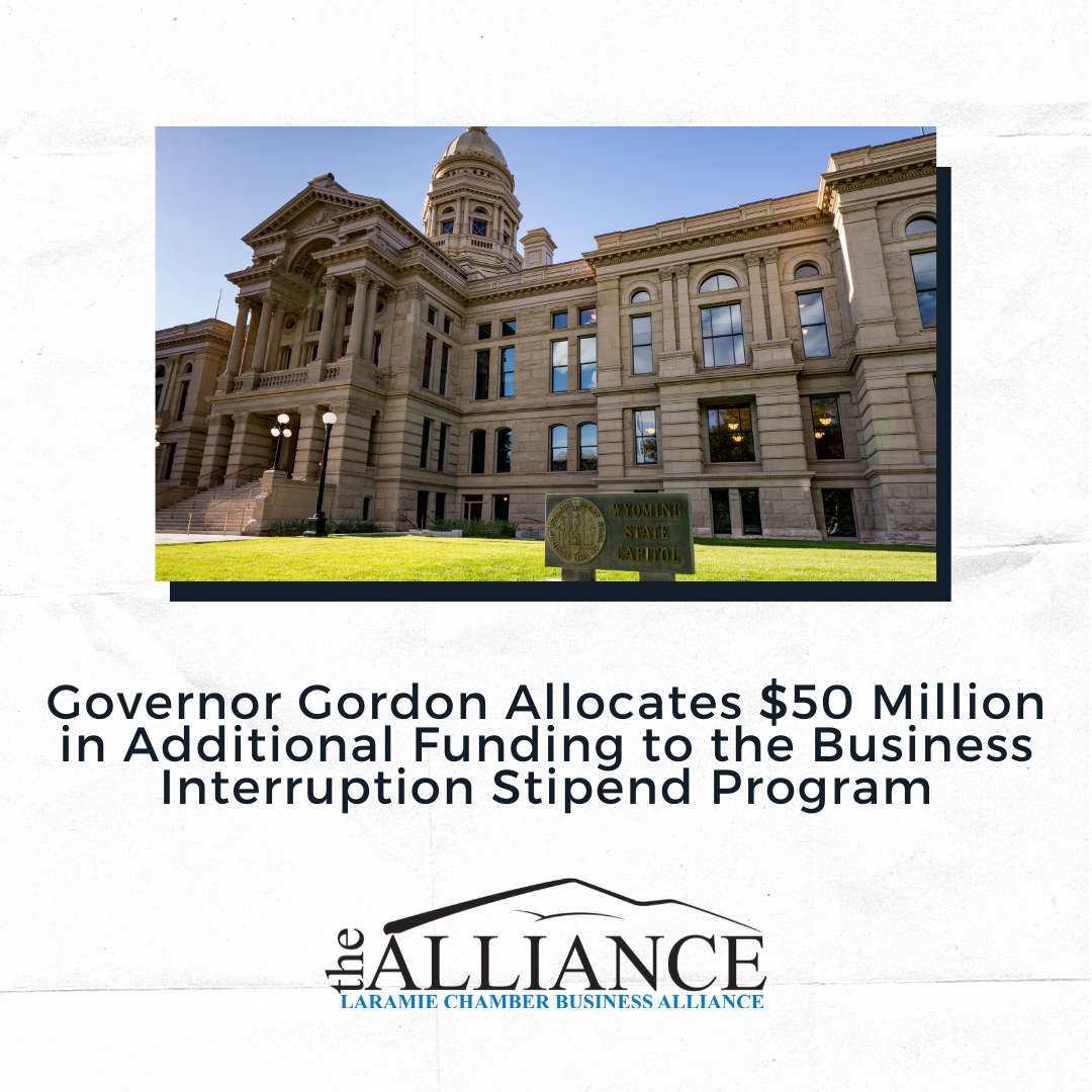 Governor Gordon allocates $50 million in additional funding to the Business Interruption Stipend Program