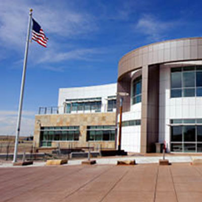 Image of the NCAR Wyoming Supercomputing center between Cheyenne and Laramie, WY