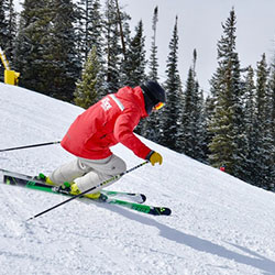 Downhill skier making a right turn on a tree-lined slope