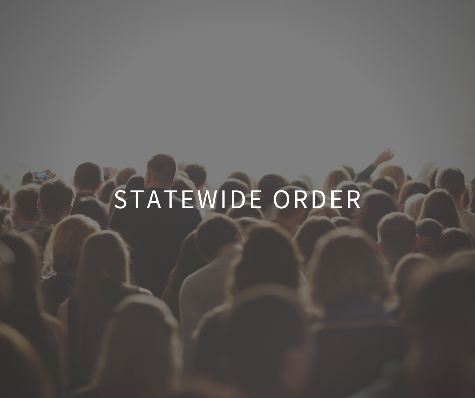 Statewide order pertaining to public gatherings